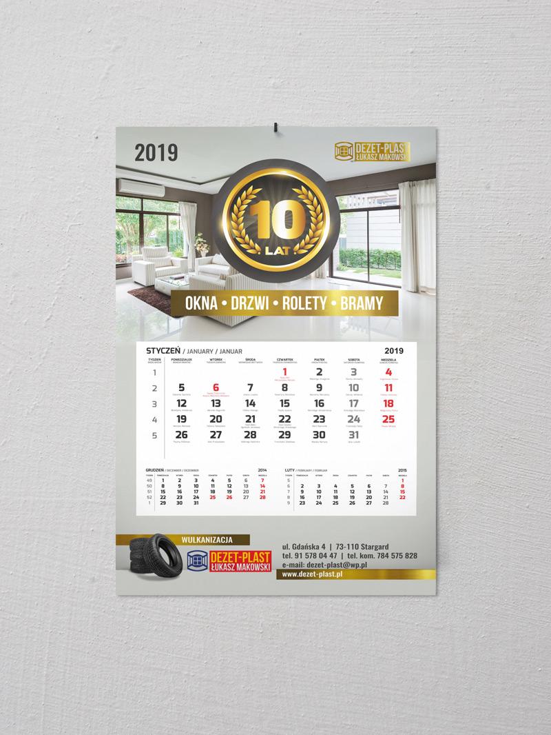 Dezet-plast kalendarz jednodzielny