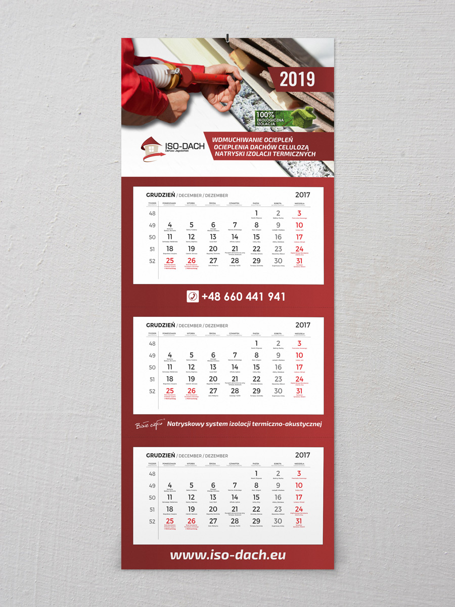 Iso-dach kalendarz trójdzielny