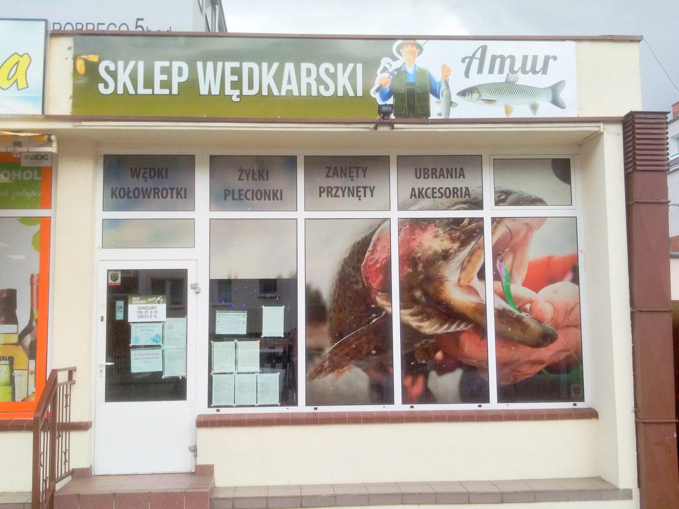 Sklep wędkarski Amur - Oklejanie witryn